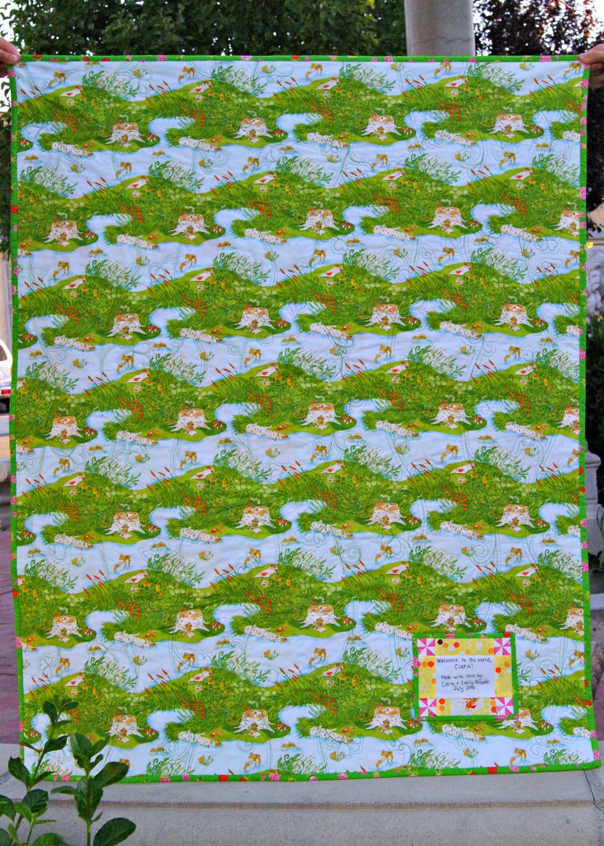 Back of Briar Rose baby quilt made by Cara Brooke @ thatcraftycara.com